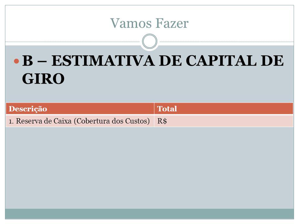 Vamos Fazer B – ESTIMATIVA DE CAPITAL DE GIRO DescriçãoTotal 1. Reserva de Caixa (Cobertura dos Custos)R$
