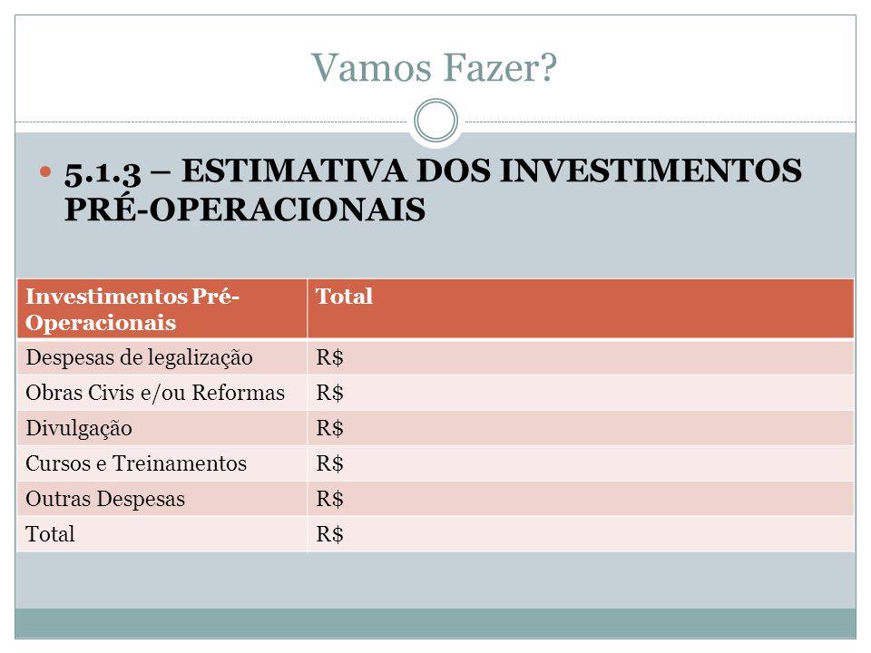 Vamos Fazer? 5.1.3 – ESTIMATIVA DOS INVESTIMENTOS PRÉ-OPERACIONAIS Investimentos Pré- Operacionais Total Despesas de legalizaçãoR$ Obras Civis e/ou Re