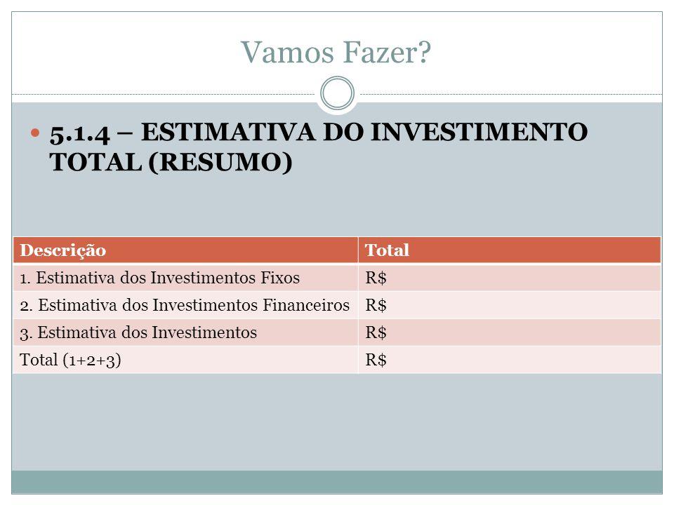 Vamos Fazer? 5.1.4 – ESTIMATIVA DO INVESTIMENTO TOTAL (RESUMO) DescriçãoTotal 1. Estimativa dos Investimentos FixosR$ 2. Estimativa dos Investimentos
