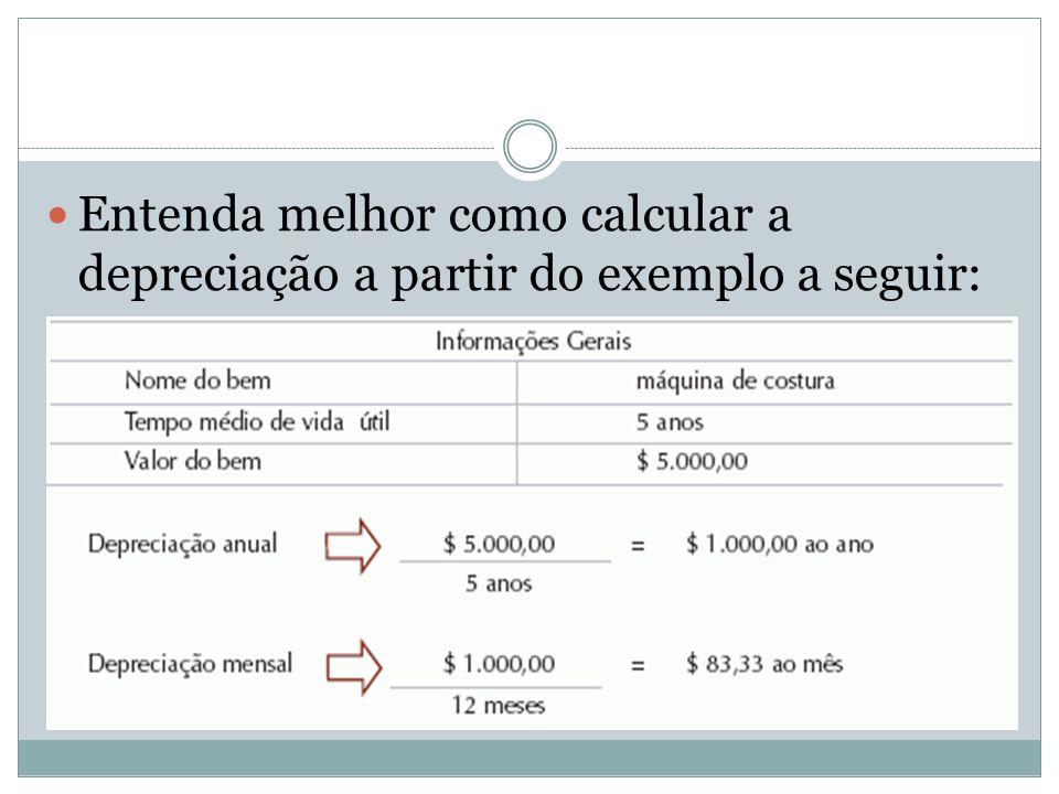 Entenda melhor como calcular a depreciação a partir do exemplo a seguir: