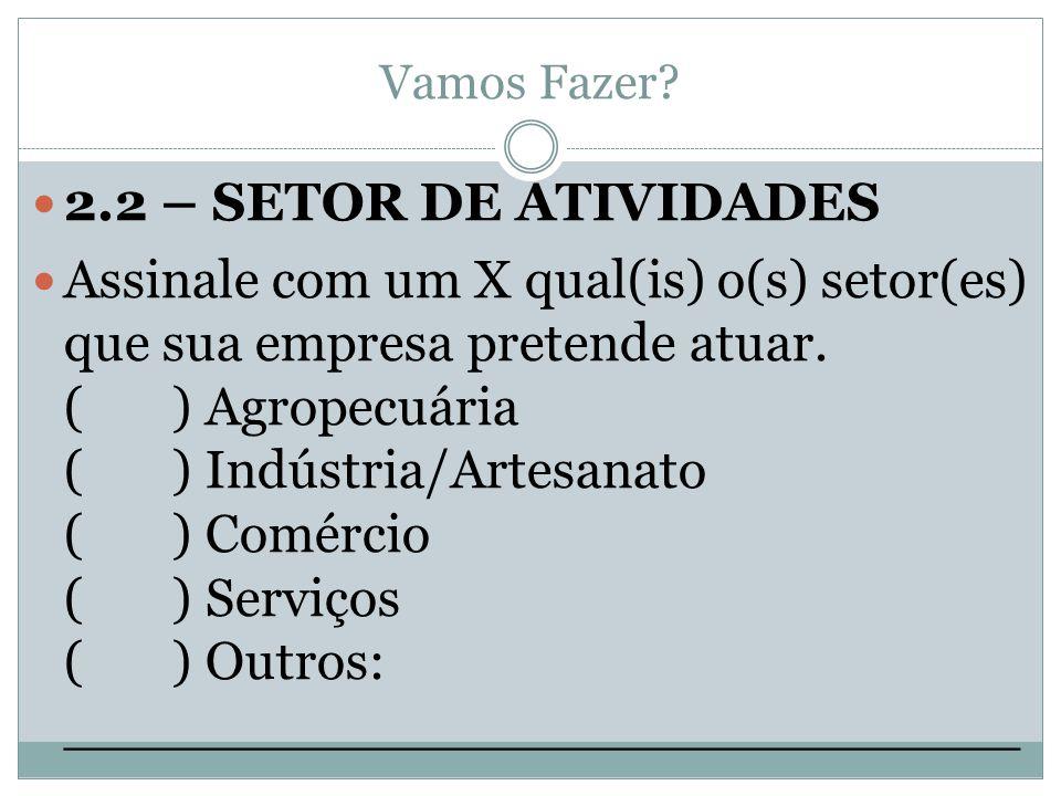 Vamos Fazer? 2.2 – SETOR DE ATIVIDADES Assinale com um X qual(is) o(s) setor(es) que sua empresa pretende atuar. ( ) Agropecuária ( ) Indústria/Artesa