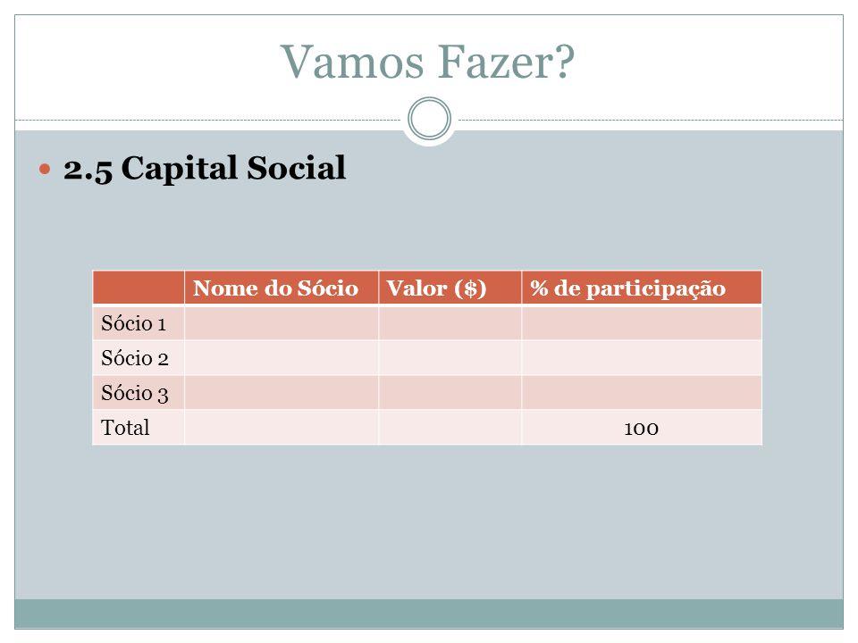 Vamos Fazer? 2.5 Capital Social Nome do SócioValor ($)% de participação Sócio 1 Sócio 2 Sócio 3 Total100