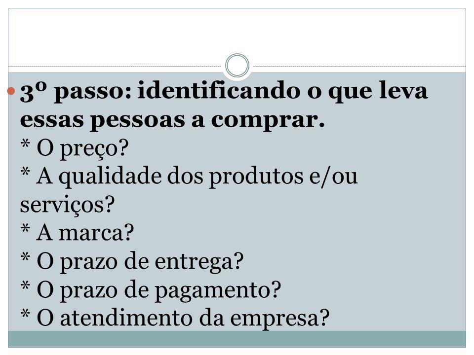 3º passo: identificando o que leva essas pessoas a comprar. * O preço? * A qualidade dos produtos e/ou serviços? * A marca? * O prazo de entrega? * O