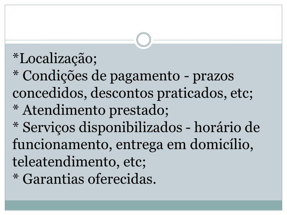 *Localização; * Condições de pagamento - prazos concedidos, descontos praticados, etc; * Atendimento prestado; * Serviços disponibilizados - horário d