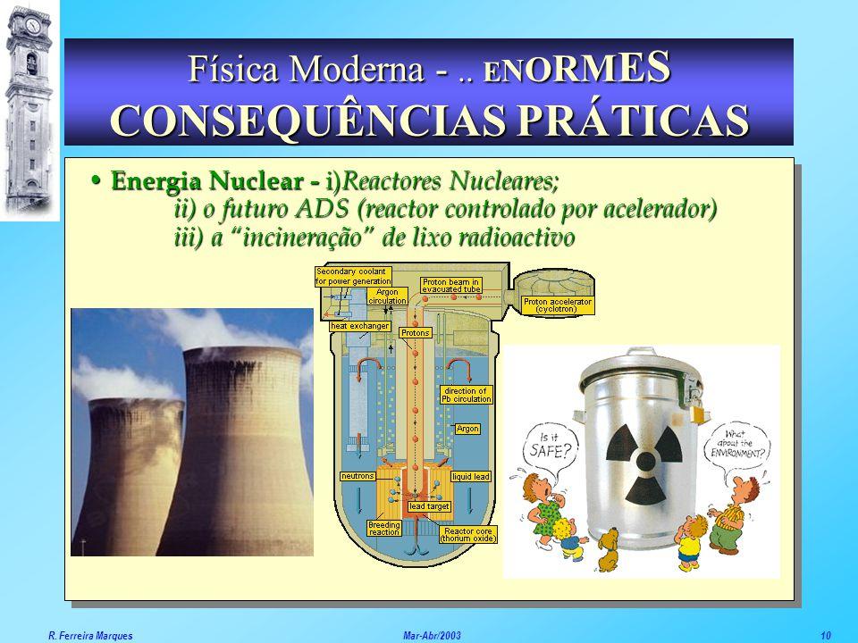 Energia Nuclear - i) Reactores i) Reactores Nucleares; ii) o futuro ADS (reactor controlado por acelerador) iii) a incineração de lixo radioactivo Fís