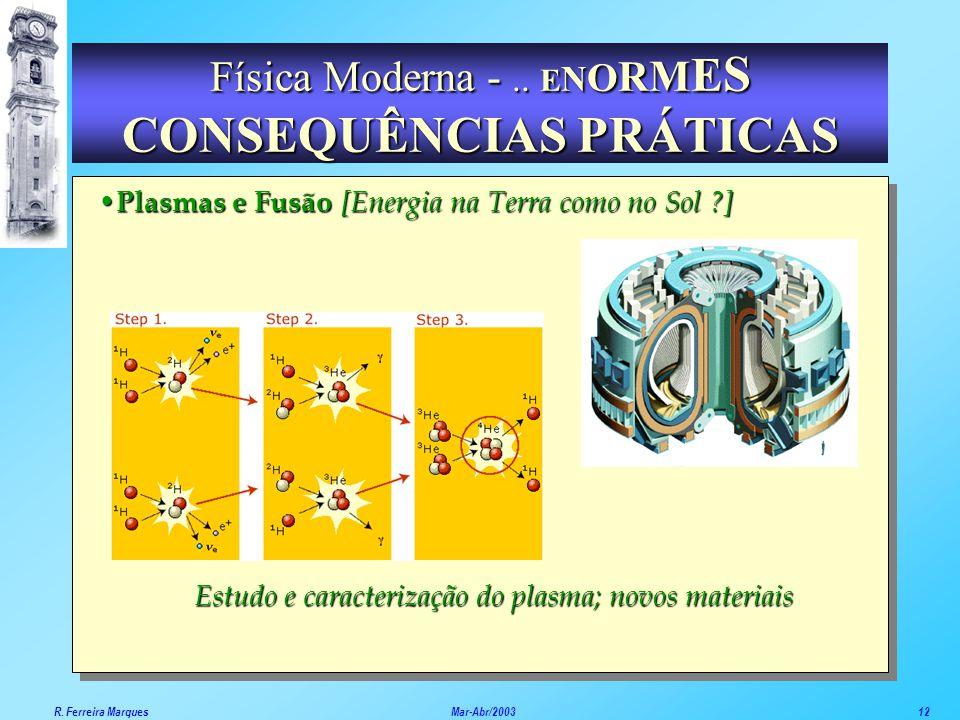 Plasmas Plasmas e Fusão [Energia na Terra como no Sol ?] Estudo e caracterização do plasma; novos materiais Física Moderna -.. E N O R M E S CONSEQUÊN