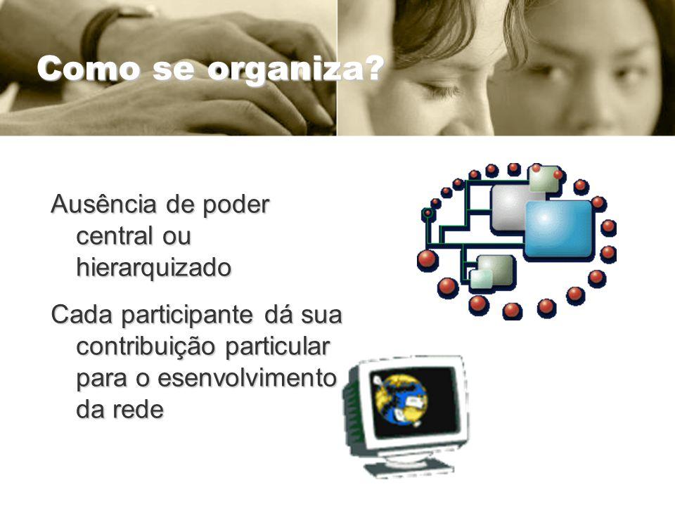 Como se organiza? Ausência de poder central ou hierarquizado Cada participante dá sua contribuição particular para o esenvolvimento da rede