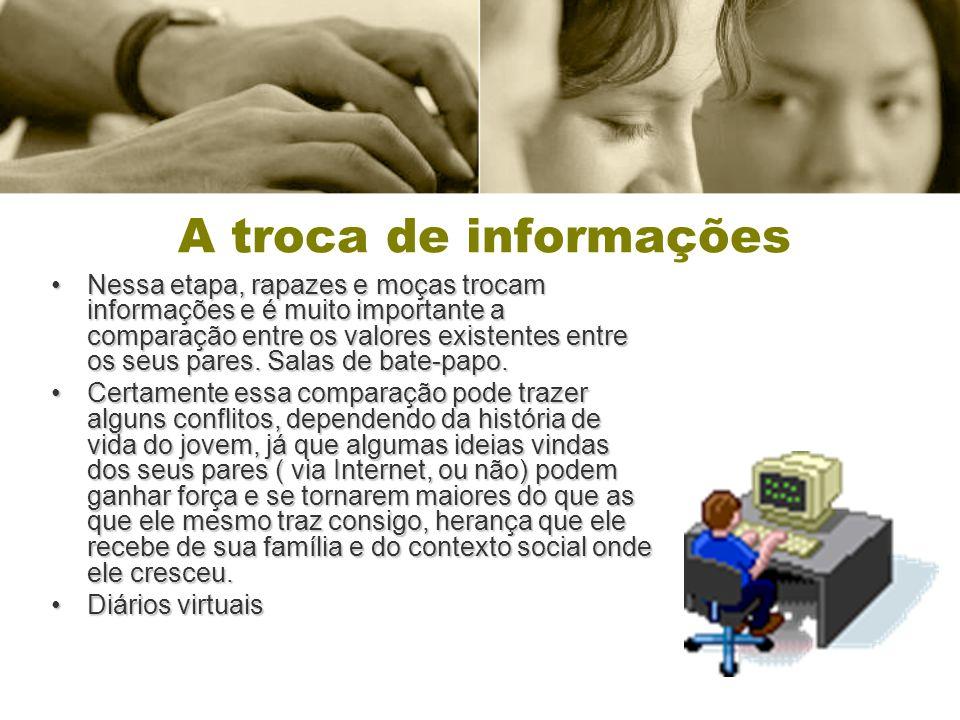 A troca de informações Nessa etapa, rapazes e moças trocam informações e é muito importante a comparação entre os valores existentes entre os seus par