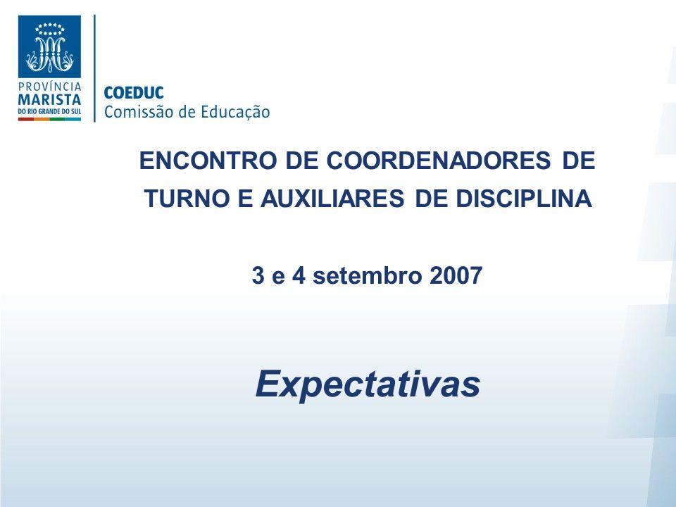 ENCONTRO DE COORDENADORES DE TURNO E AUXILIARES DE DISCIPLINA 3 e 4 setembro 2007 Expectativas