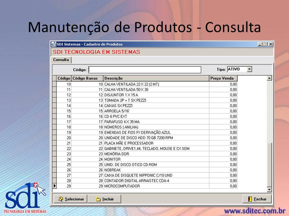 Manutenção de Produtos - Consulta