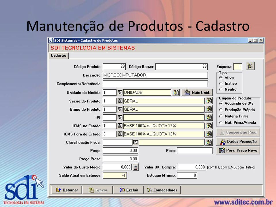 Manutenção de Produtos - Cadastro