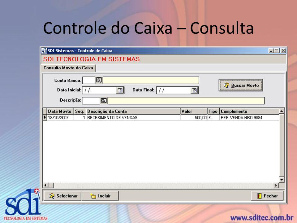 Controle do Caixa – Consulta