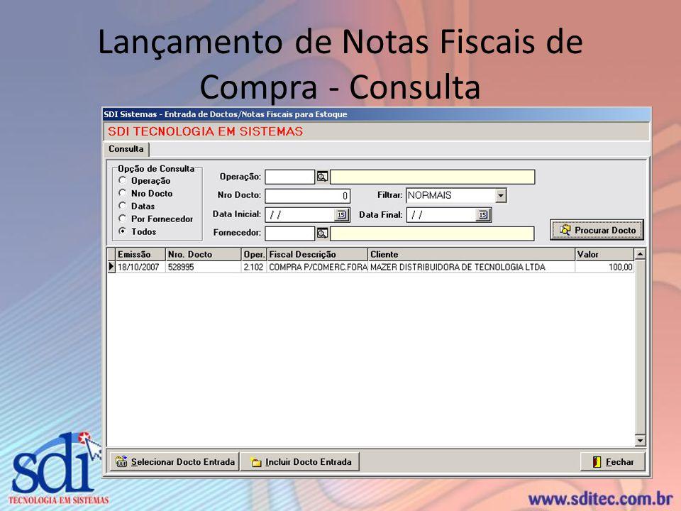Lançamento de Notas Fiscais de Compra - Consulta
