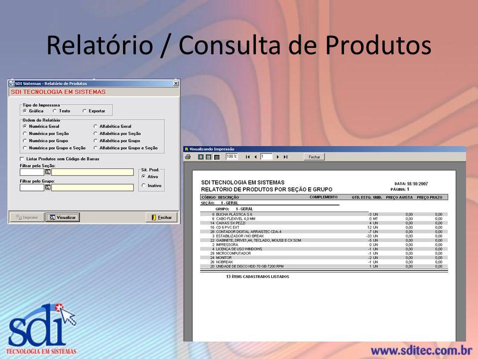 Relatório / Consulta de Produtos