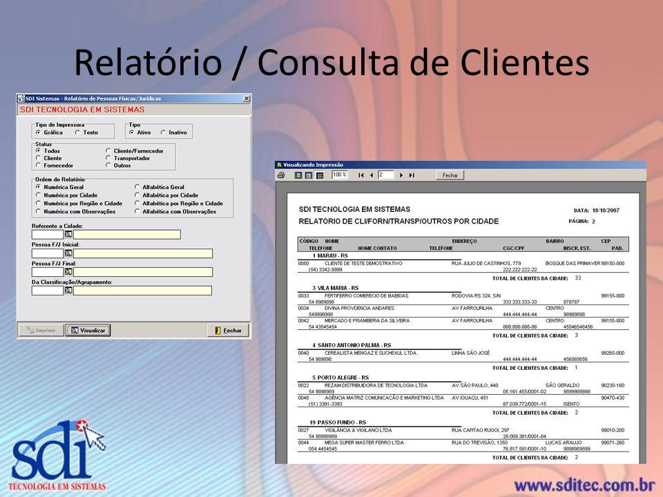 Relatório / Consulta de Clientes