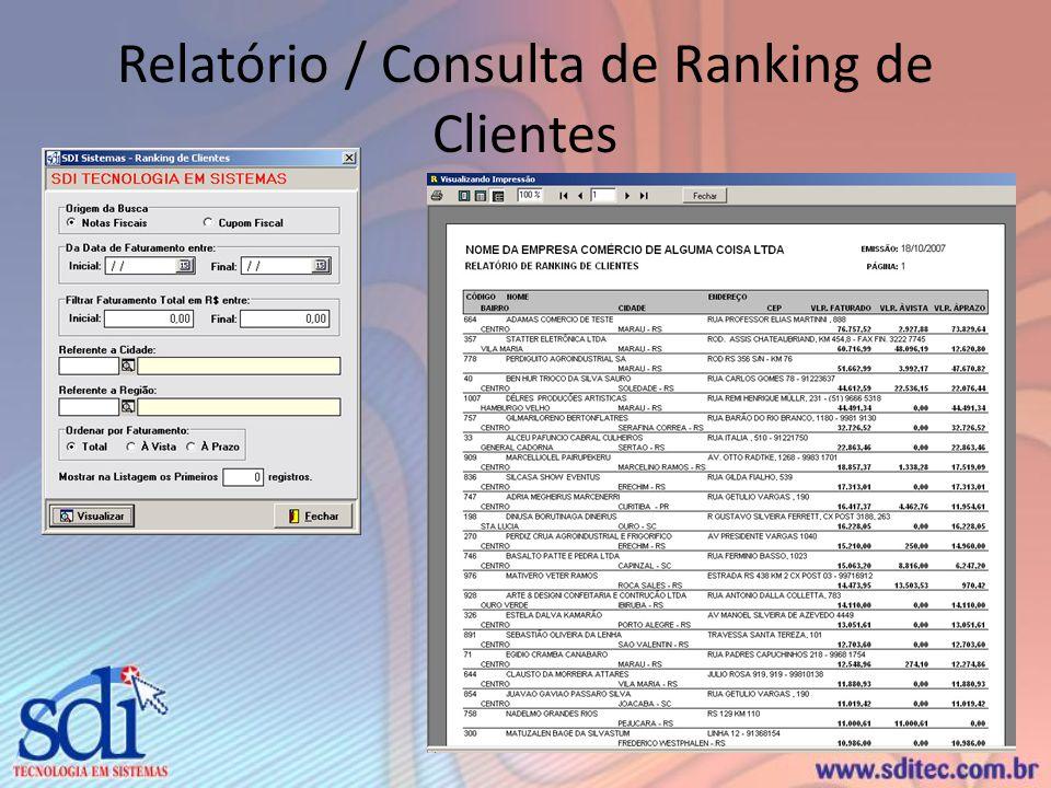 Relatório / Consulta de Ranking de Clientes