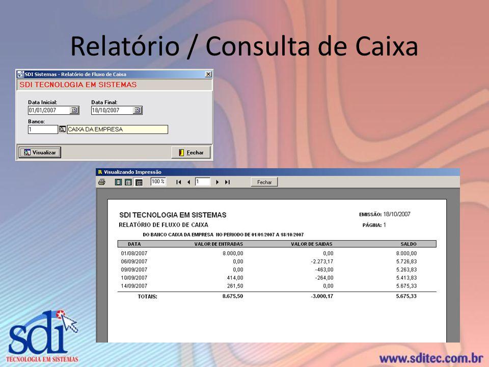 Relatório / Consulta de Caixa