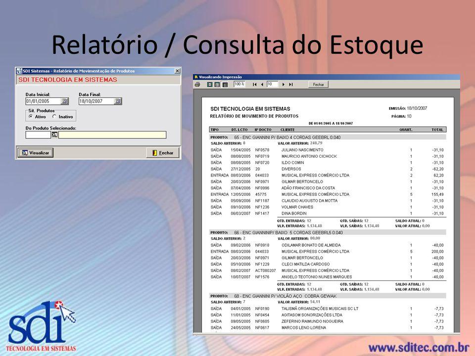 Relatório / Consulta do Estoque