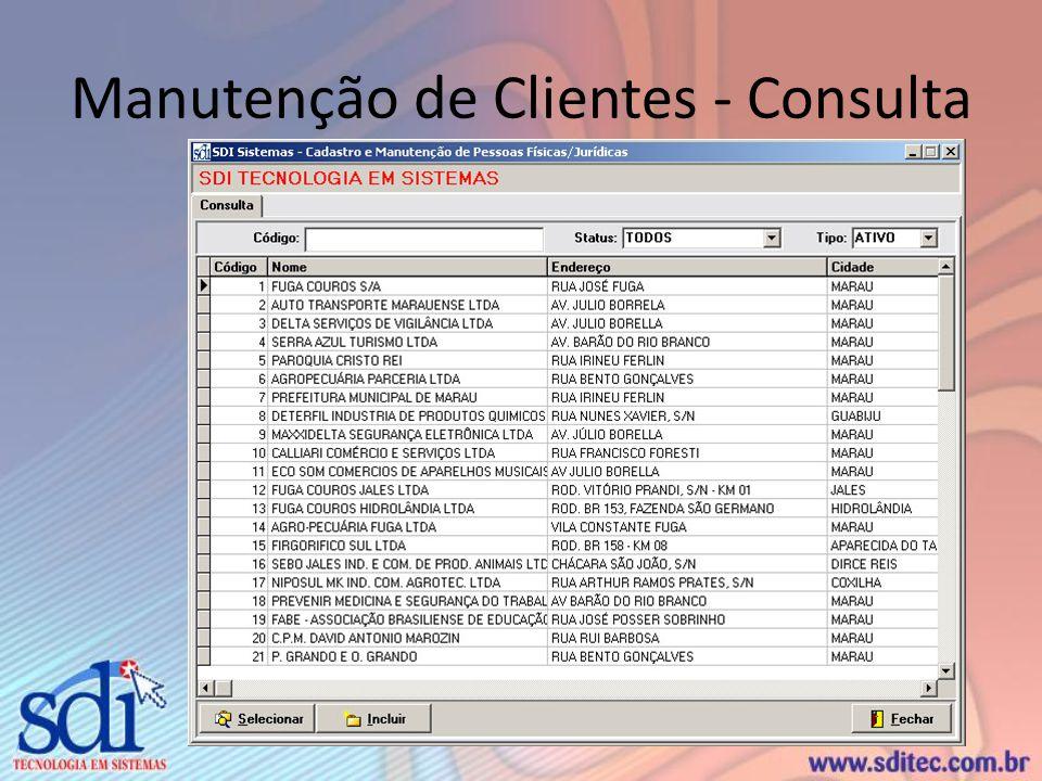 Manutenção de Clientes - Consulta