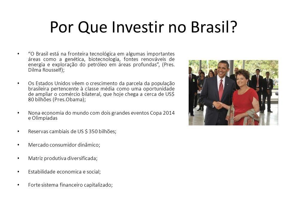 Por Que Investir no Brasil? O Brasil está na fronteira tecnológica em algumas importantes áreas como a genética, biotecnologia, fontes renováveis de e