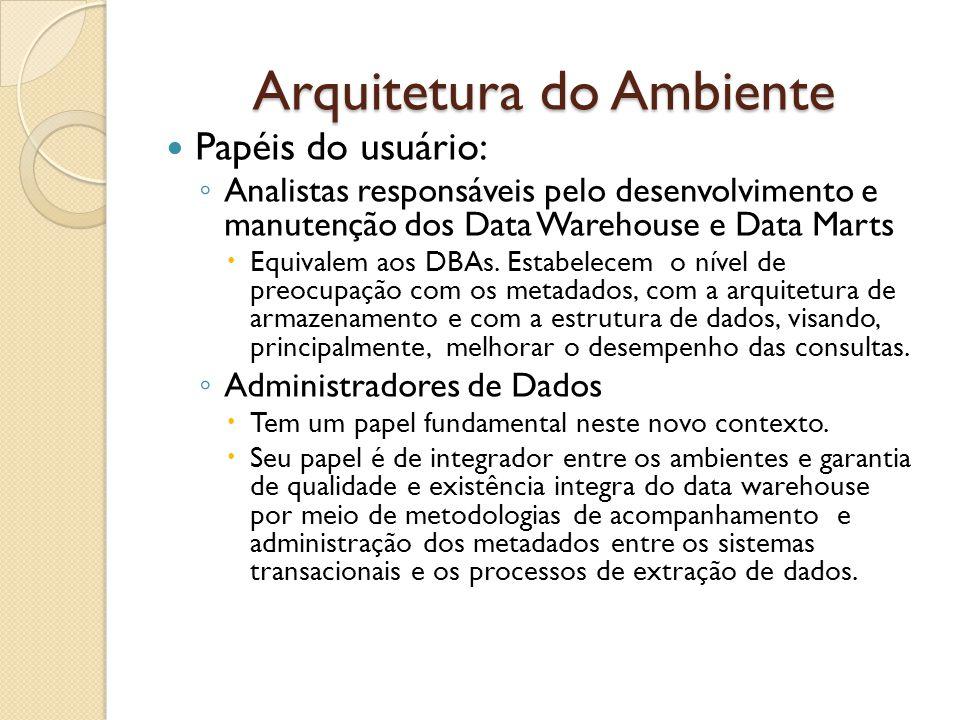Arquitetura do Ambiente Papéis do usuário: Analistas responsáveis pelo desenvolvimento e manutenção dos Data Warehouse e Data Marts Equivalem aos DBAs