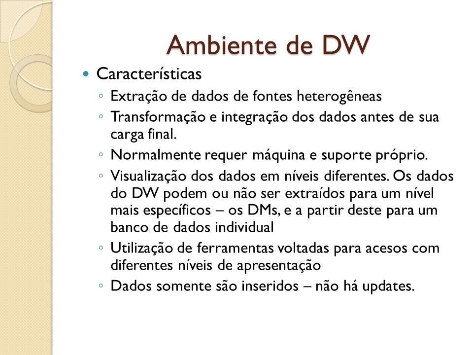 Ambiente de DW Outras Características Orientação por Assunto Significa que um DW armazena informações agrupadas por assunto de interesse – em contraste com os sistemas que são orientados a processos desenvolvidos para manter as transações realizadas diariamente.