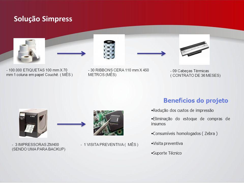 Solução Simpress - 100.000 ETIQUETAS 100 mm X 70 mm 1 coluna em papel Couchê.