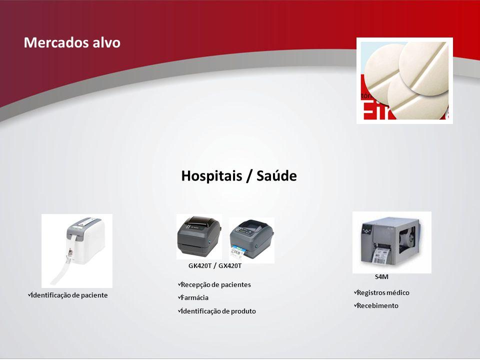Mercados alvo Hospitais / Saúde GK420T / GX420T S4M Identificação de paciente Recepção de pacientes Farmácia Identificação de produto Registros médico Recebimento