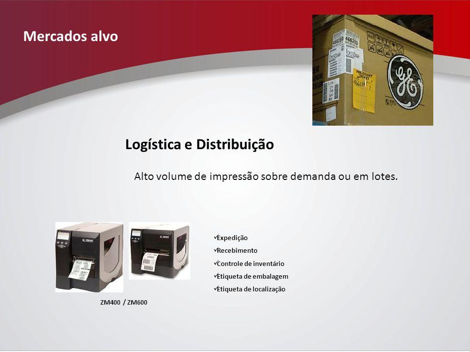 Mercados alvo Logística e Distribuição Expedição Recebimento Controle de inventário Etiqueta de embalagem Etiqueta de localização ZM400 / ZM600 Alto volume de impressão sobre demanda ou em lotes.
