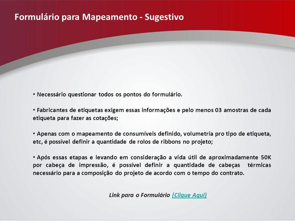Formulário para Mapeamento - Sugestivo Necessário questionar todos os pontos do formulário.