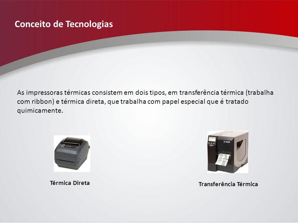 Conceito de Tecnologias As impressoras térmicas consistem em dois tipos, em transferência térmica (trabalha com ribbon) e térmica direta, que trabalha com papel especial que é tratado quimicamente.
