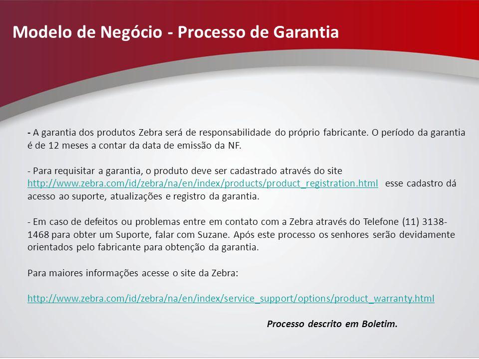 Modelo de Negócio - Processo de Garantia - A garantia dos produtos Zebra será de responsabilidade do próprio fabricante.
