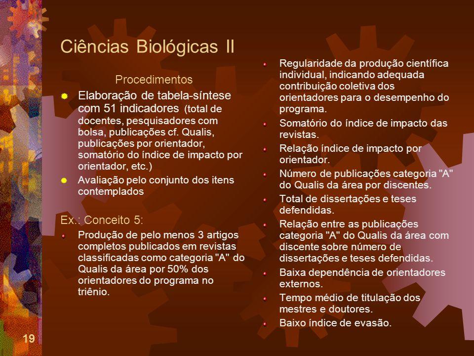 19 Ciências Biológicas II Procedimentos Elaboração de tabela-síntese com 51 indicadores (total de docentes, pesquisadores com bolsa, publicações cf.
