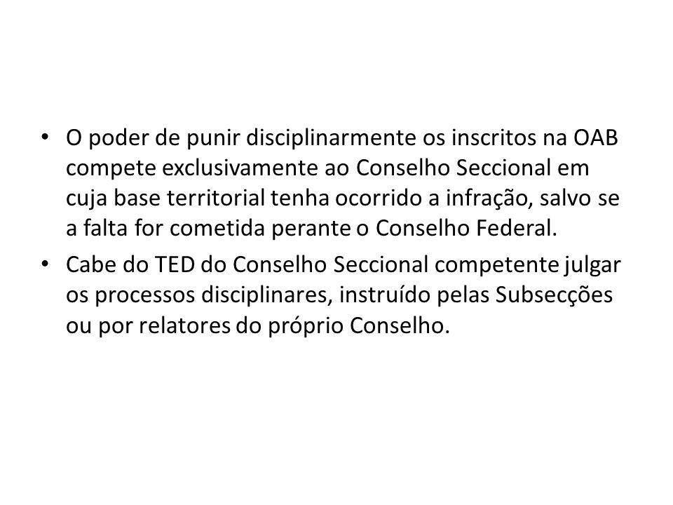 O poder de punir disciplinarmente os inscritos na OAB compete exclusivamente ao Conselho Seccional em cuja base territorial tenha ocorrido a infração,