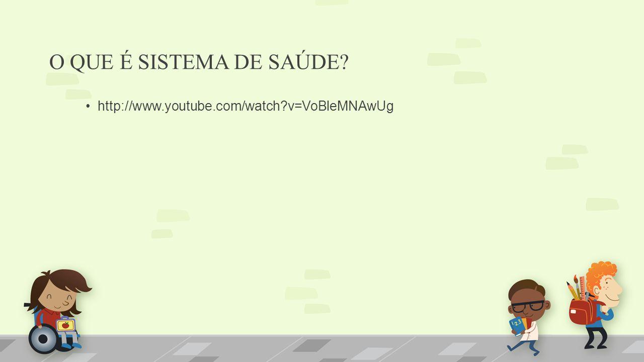 O QUE É SISTEMA DE SAÚDE? http://www.youtube.com/watch?v=VoBleMNAwUg