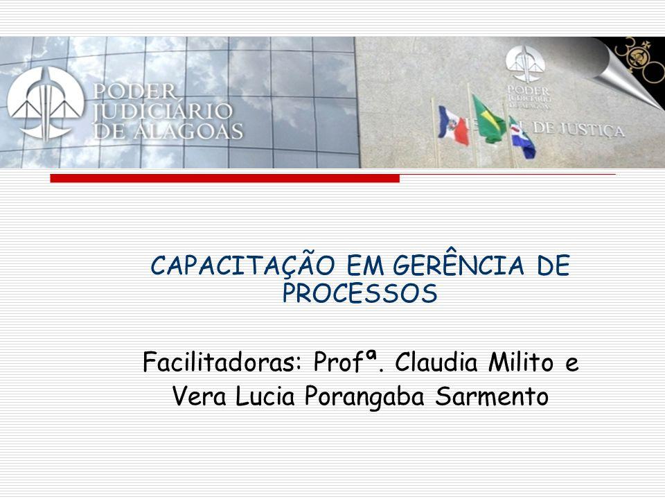 CAPACITAÇÃO EM GERÊNCIA DE PROCESSOS Facilitadoras: Profª. Claudia Milito e Vera Lucia Porangaba Sarmento