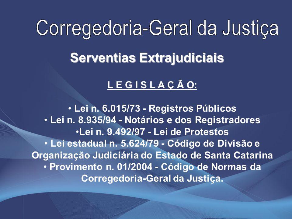 L E G I S L A Ç Ã O: Lei n. 6.015/73 - Registros Públicos Lei n. 8.935/94 - Notários e dos Registradores Lei n. 9.492/97 - Lei de Protestos Lei estadu