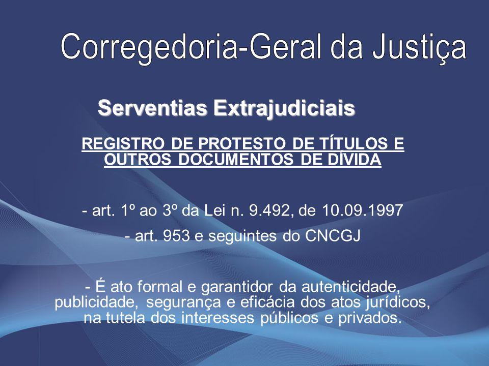 REGISTRO DE PROTESTO DE TÍTULOS E OUTROS DOCUMENTOS DE DÍVIDA - art. 1º ao 3º da Lei n. 9.492, de 10.09.1997 - art. 953 e seguintes do CNCGJ - É ato f
