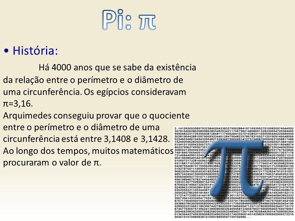 História: Há 4000 anos que se sabe da existência da relação entre o perímetro e o diâmetro de uma circunferência. Os egípcios consideravam π=3,16. Arq