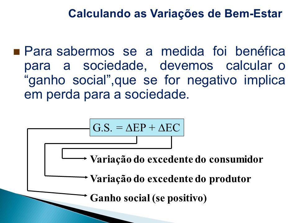 Para sabermos se a medida foi benéfica para a sociedade, devemos calcular o ganho social,que se for negativo implica em perda para a sociedade. Variaç