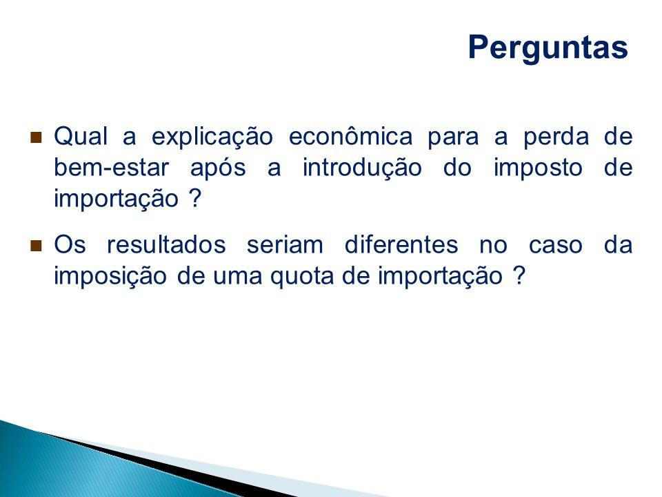 Perguntas Qual a explicação econômica para a perda de bem-estar após a introdução do imposto de importação ? Os resultados seriam diferentes no caso d