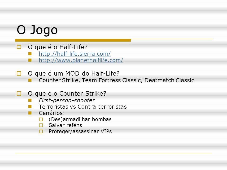 O Jogo O que é o Half-Life? http://half-life.sierra.com/ http://www.planethalflife.com/ O que é um MOD do Half-Life? Counter Strike, Team Fortress Cla