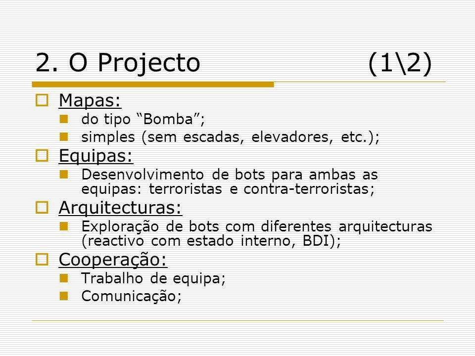 2. O Projecto(1\2) Mapas: do tipo Bomba; simples (sem escadas, elevadores, etc.); Equipas: Desenvolvimento de bots para ambas as equipas: terroristas