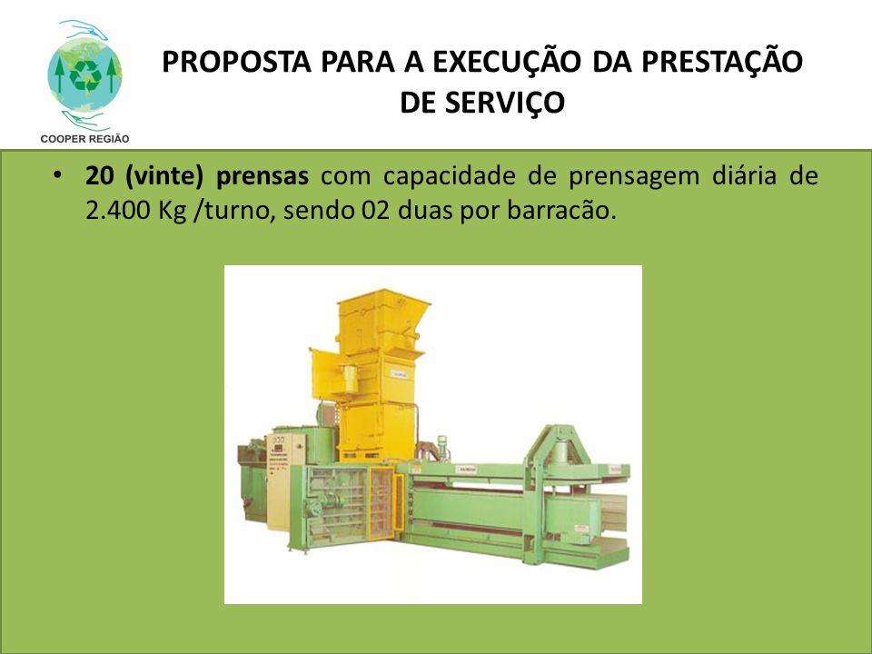 PROPOSTA PARA A EXECUÇÃO DA PRESTAÇÃO DE SERVIÇO 20 (vinte) prensas com capacidade de prensagem diária de 2.400 Kg /turno, sendo 02 duas por barracão.