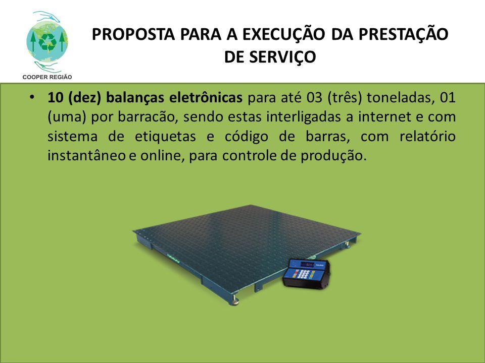 PROPOSTA PARA A EXECUÇÃO DA PRESTAÇÃO DE SERVIÇO 10 (dez) balanças eletrônicas para até 03 (três) toneladas, 01 (uma) por barracão, sendo estas interl