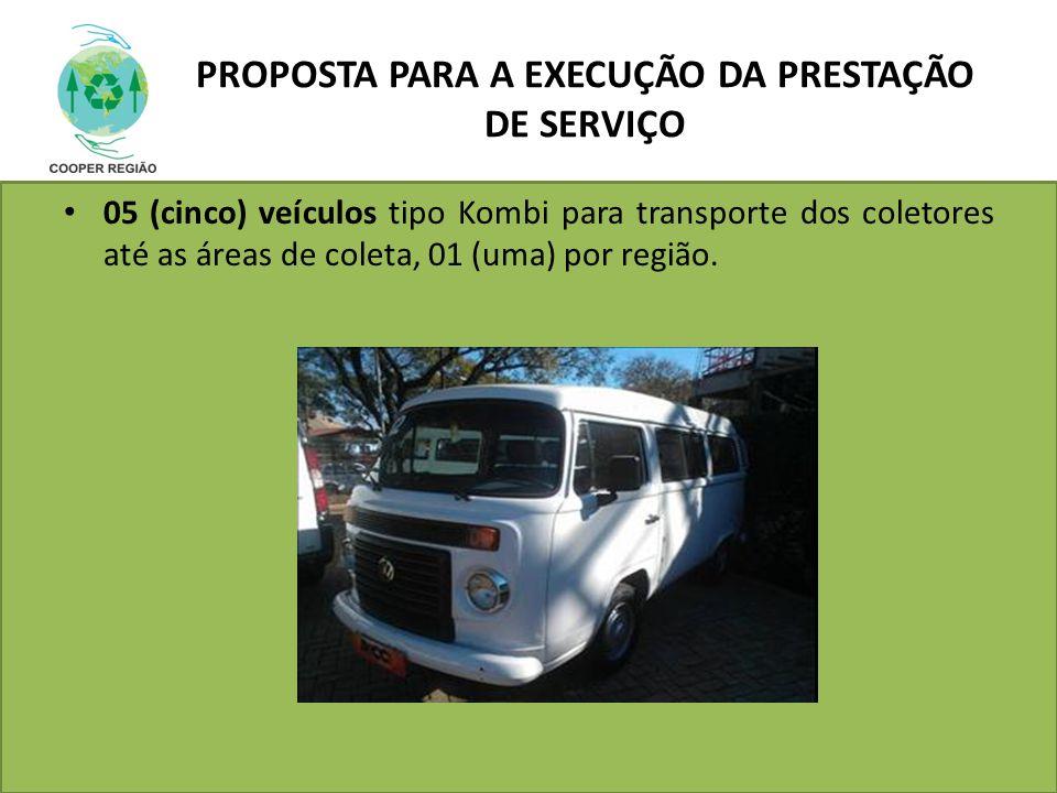 PROPOSTA PARA A EXECUÇÃO DA PRESTAÇÃO DE SERVIÇO 05 (cinco) veículos tipo Kombi para transporte dos coletores até as áreas de coleta, 01 (uma) por reg