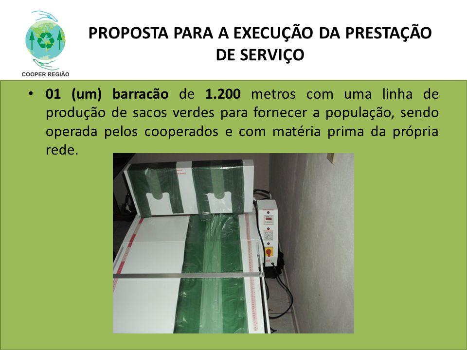 PROPOSTA PARA A EXECUÇÃO DA PRESTAÇÃO DE SERVIÇO 01 (um) barracão de 1.200 metros com uma linha de produção de sacos verdes para fornecer a população,