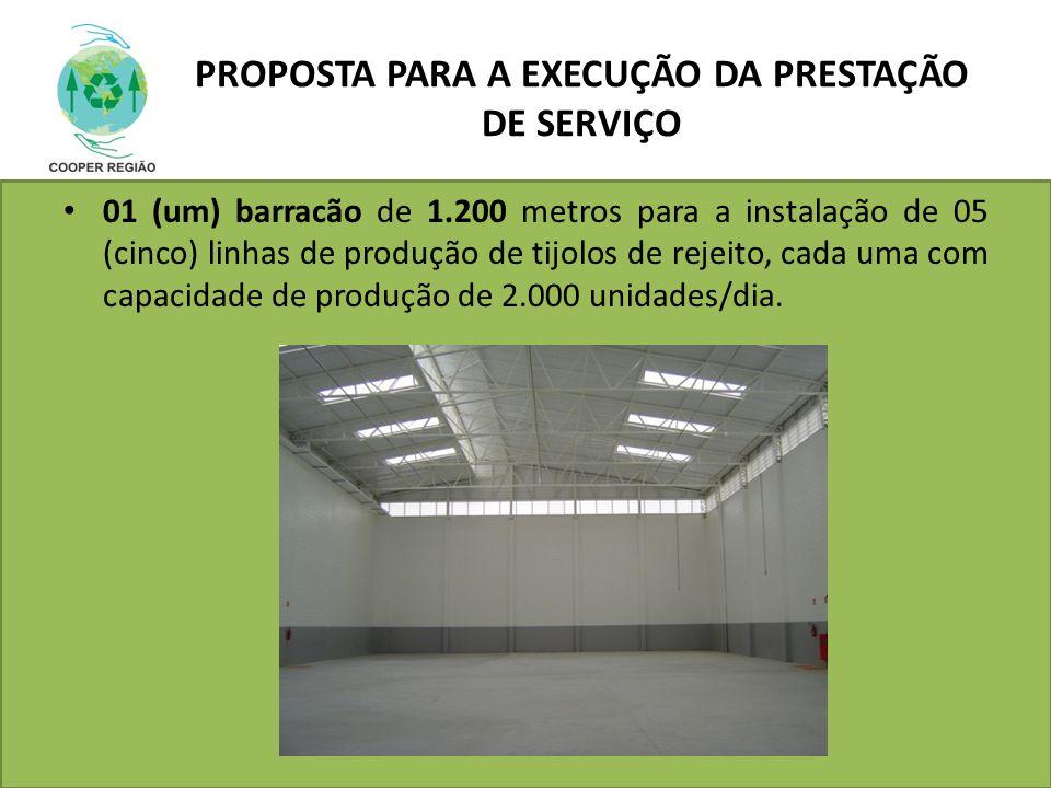 PROPOSTA PARA A EXECUÇÃO DA PRESTAÇÃO DE SERVIÇO 01 (um) barracão de 1.200 metros para a instalação de 05 (cinco) linhas de produção de tijolos de rej