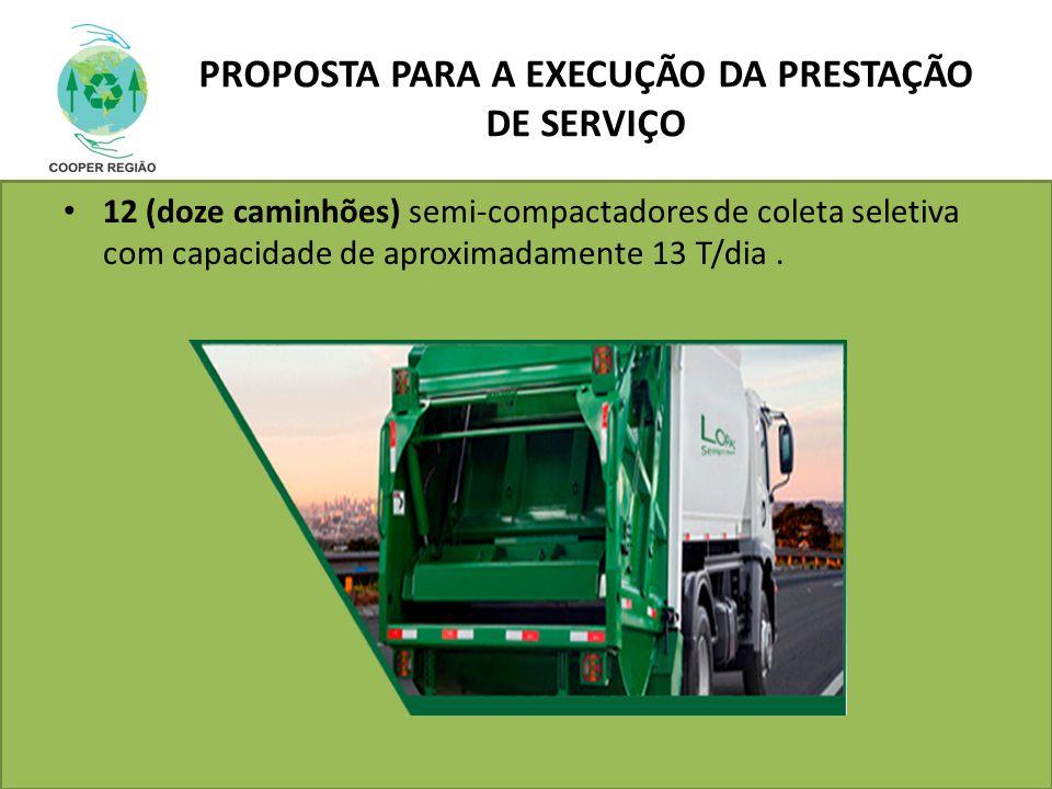 PROPOSTA PARA A EXECUÇÃO DA PRESTAÇÃO DE SERVIÇO 12 (doze caminhões) semi-compactadores de coleta seletiva com capacidade de aproximadamente 13 T/dia.