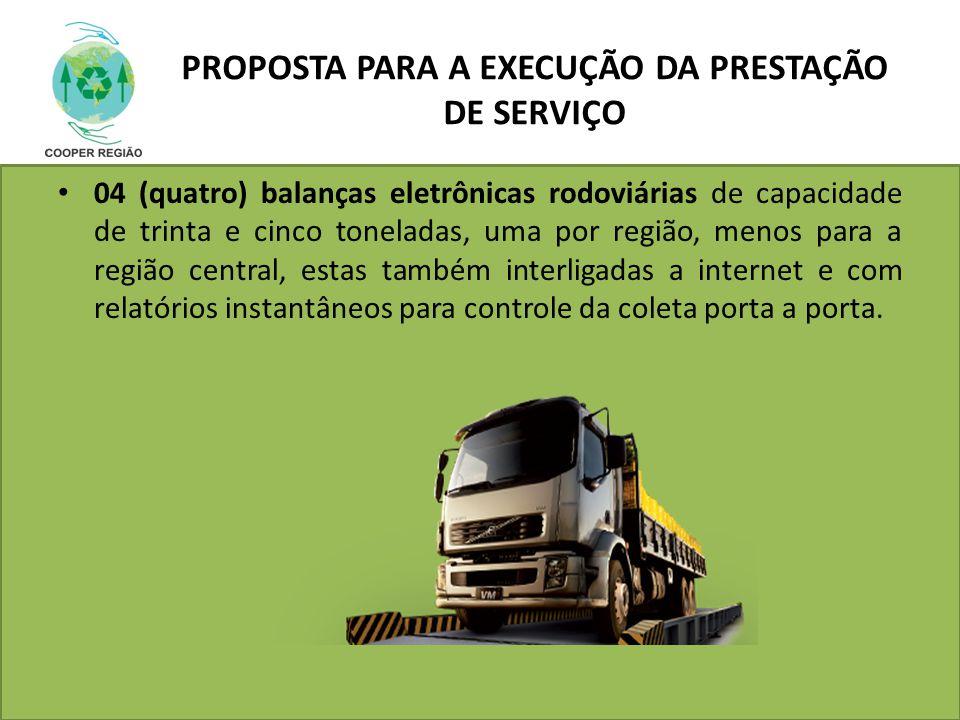 PROPOSTA PARA A EXECUÇÃO DA PRESTAÇÃO DE SERVIÇO 04 (quatro) balanças eletrônicas rodoviárias de capacidade de trinta e cinco toneladas, uma por regiã
